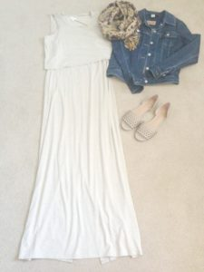 Maxi dress styled for transition summer to fall