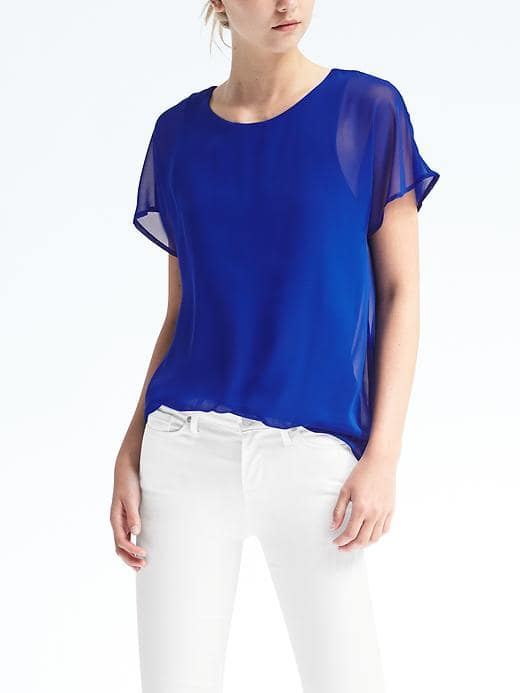 Banana Republic Sheer Sleeve Overlay Top