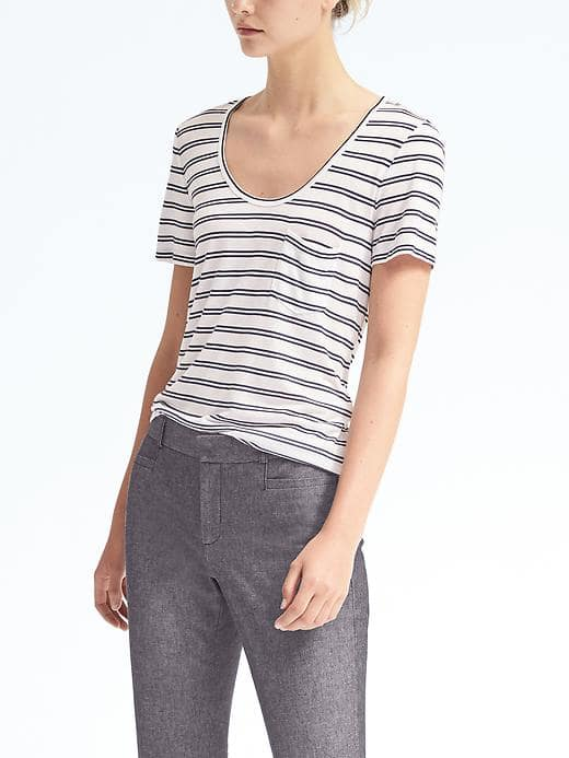 Banana Republic Short-Sleeve Stripe Modal Scoop Tee