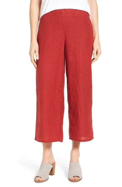 Eileen Fisher Organic Linen Crop Wide Leg Pants