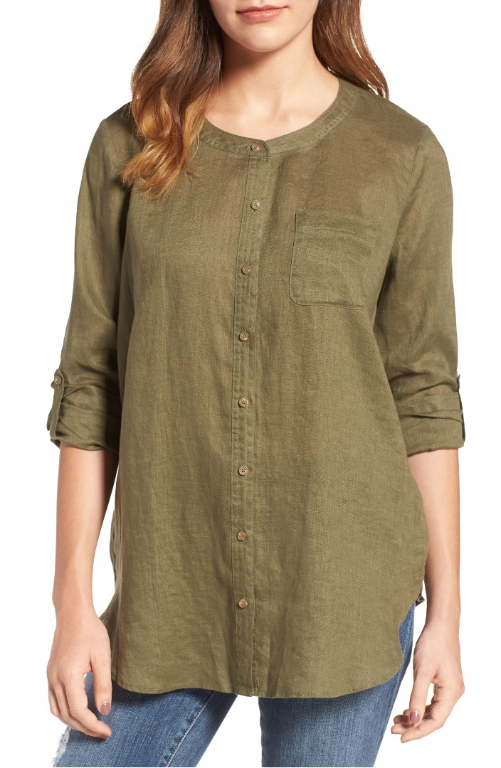 Two by Vince Camuto Collarless Linen Shirt
