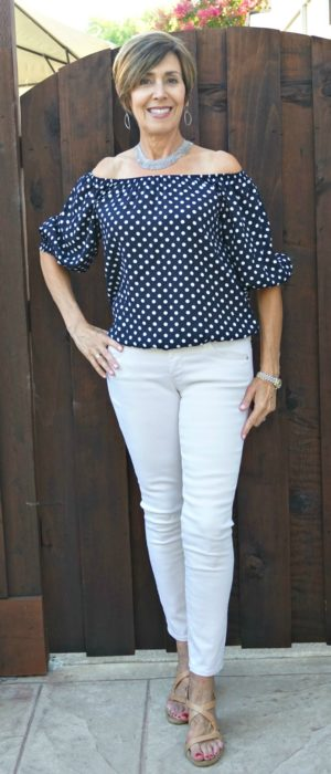 Blue & white polka dot off shoulder top