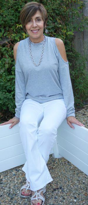 Gray cold shoulder long sleeve top
