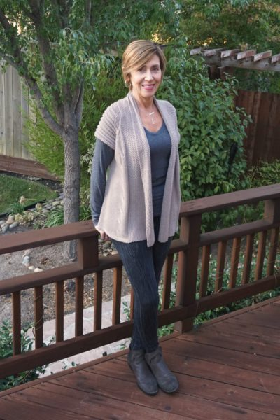 Gray with taupe sweater