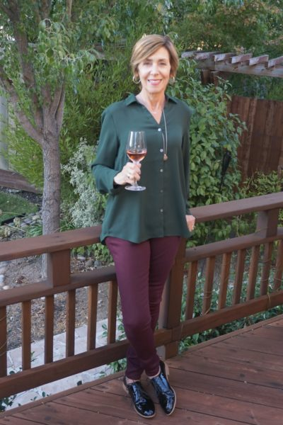 Green with wine pants